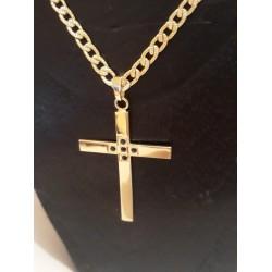 Hanger ~ Gouden 14 karaats kruis hanger met saffier edelstenen