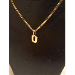 Hanger ~ Gouden 14 karaats letter U Hanger