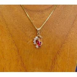Hanger ~ AUBERI Gouden 14 karaats Hanger met rode en witte zirconia