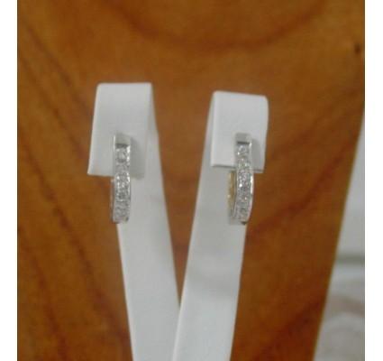 Oorbellen ~ Gouden 14 karaats bicolor (wit- & Geelgouden) Oorbellen met zirconia