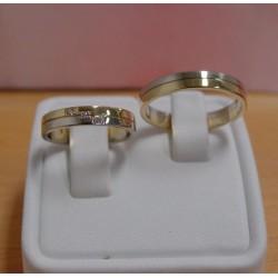Trouwringen ~ MONDO Gouden Wit- Geelgouden Bicolor Trouwringen met 3 Diamant