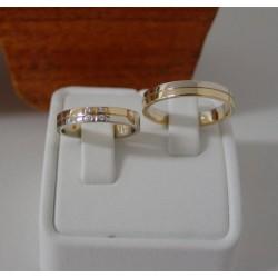 Trouwringen ~ JULES Gouden Bicolor (wit- & geelgouden) Trouwringen met Diamant