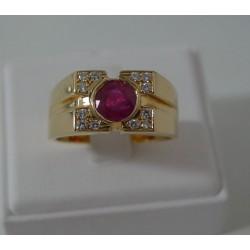 Ring ~ ALESSIO Gouden 18 karaats Heren Ring met Robijn & Diamant