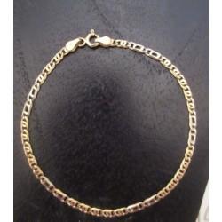 Armband ~ MODERNA Gouden Bicolor (Wit- & Geelgouden) 14 karaats Tijgeroog schakel Armband 18.5cm