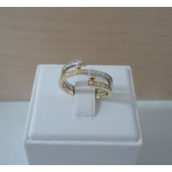 Ring ~ Gouden 14 karaats bicolor (wit- en geelgouden) Design ring met Diamant