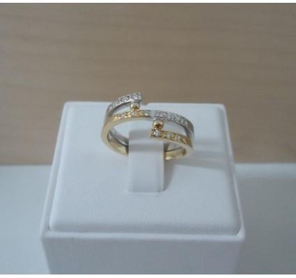 Ring ~ Gouden 14 karaats bicolor (wit- en geelgouden) Design ring met Diamant