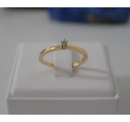 Ring ~ Gouden 14 karaats Solitair Ring met 1 Diamant