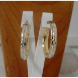 Oorbellen ~ Gouden 14 karaats Bicolor (wit- & geelgoud) Creool Oorbellen