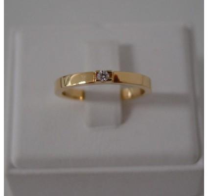 Ring ~ Gouden 14 karaats gladde Ring met 1 Diamant